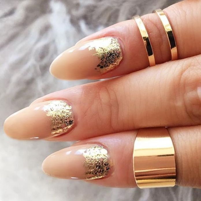 gold-foil-gorgeous-nails-oval-nude-base-ruffian 2020 Fantastic Nail Design Ideas with Simple Accents