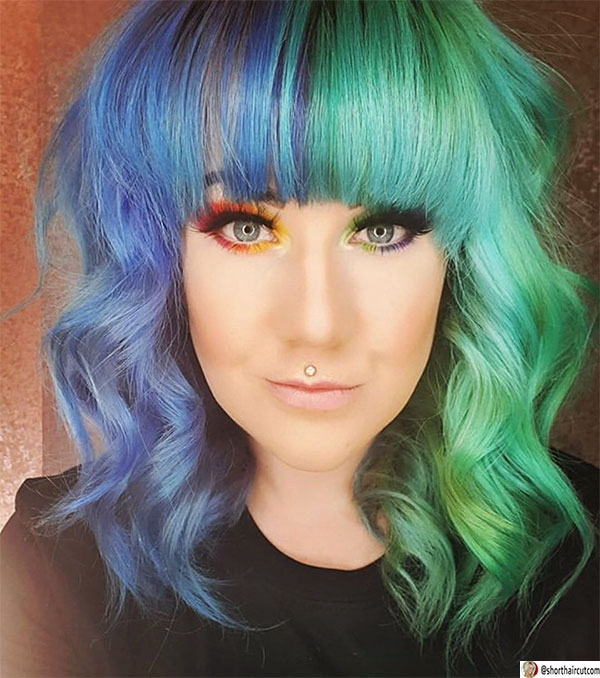 wavy-hair-with-bangs-1 20 Short and Green Hairstyles You Will Want to Copy