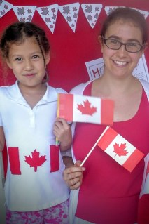 She's not Canadian, but she did this to her t-shirt with felt and brought her own printed flag! My heart...!