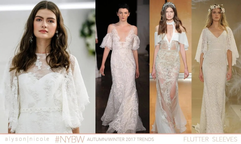 9962e22224d29 Designers added a little whimsicle touch to gowns by using flutter sleeves: