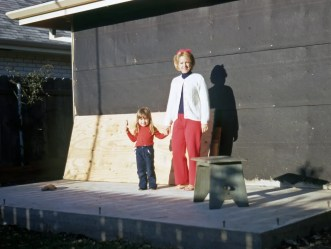 My mother and my sister with the addition to our house in New Orleans East that my grandfather built.