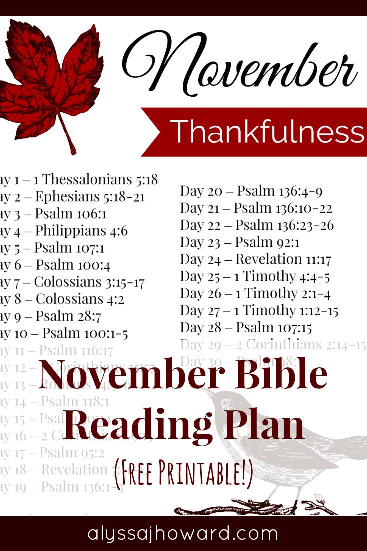 November Bible Read Plan | alyssajhoward.com