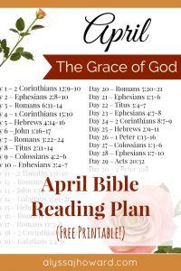 April Bible Reading Plan | alyssajhoward.com