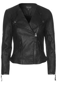 QUILTED FAUX LEATHER BIKER; Source: us.topshop.com