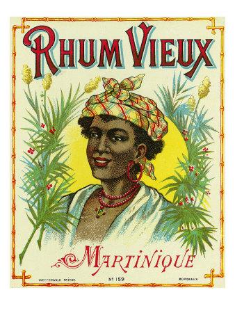 rhum vieux martinique, vintage postcard of Martininque