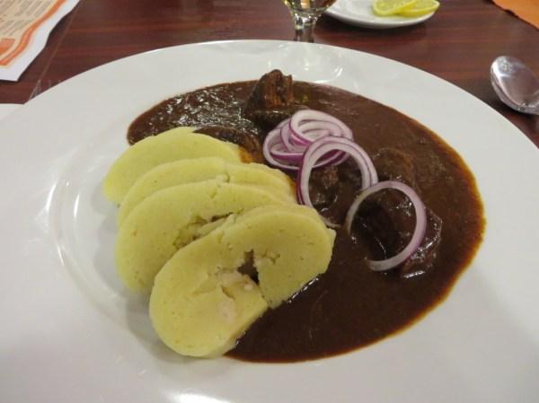 Venison goulash at the Prague Airport restaurant