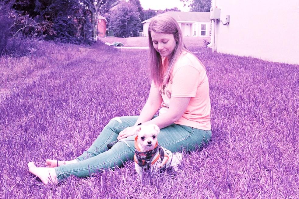 woman and dog - lomochrome purple