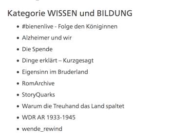 Grimme Online Kategorie Wissen und Bildung