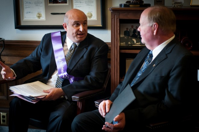 Joel Loiacono, Executive Director of the Inland Northwest Chapter, speaks to Rep. Joe Schmick during Advocacy Day.