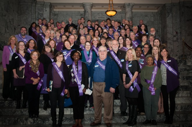 Over 100 people visited Olympia to speak to their legislators about issues affecting those diagnosed with Alzheimer's & other dementias.