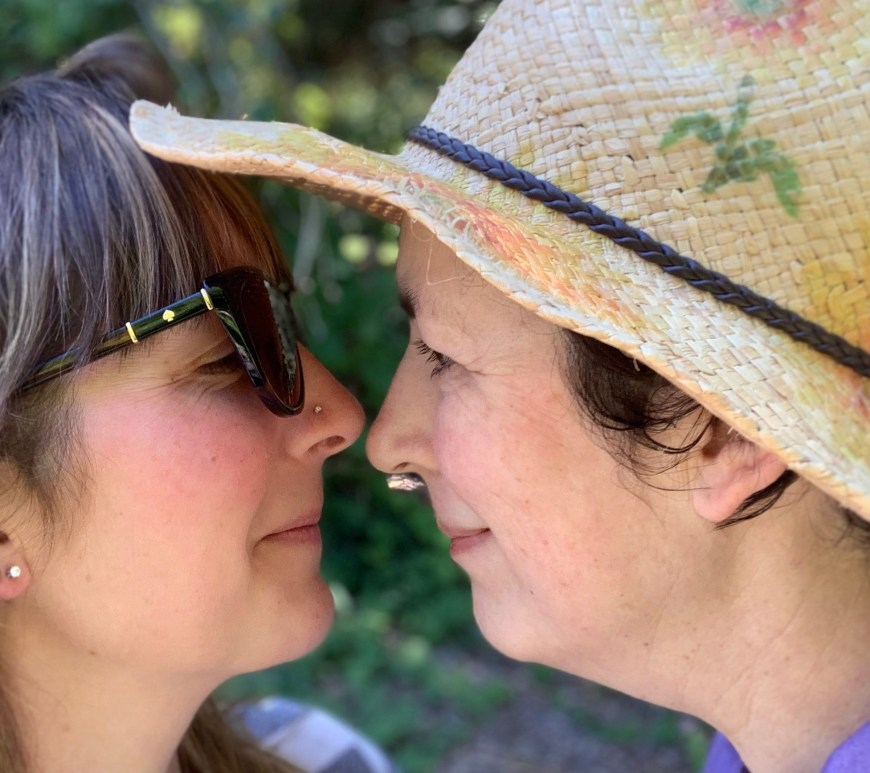 Amy and her mom touch noses