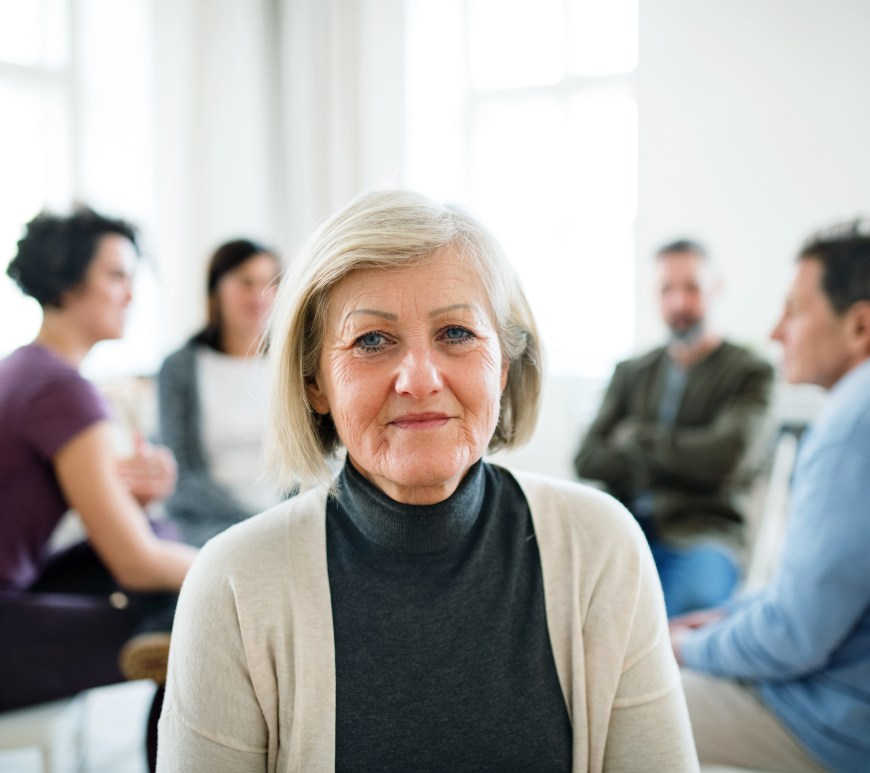 A woman attending a support group