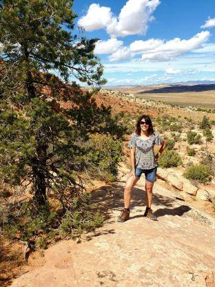 A woman hiking