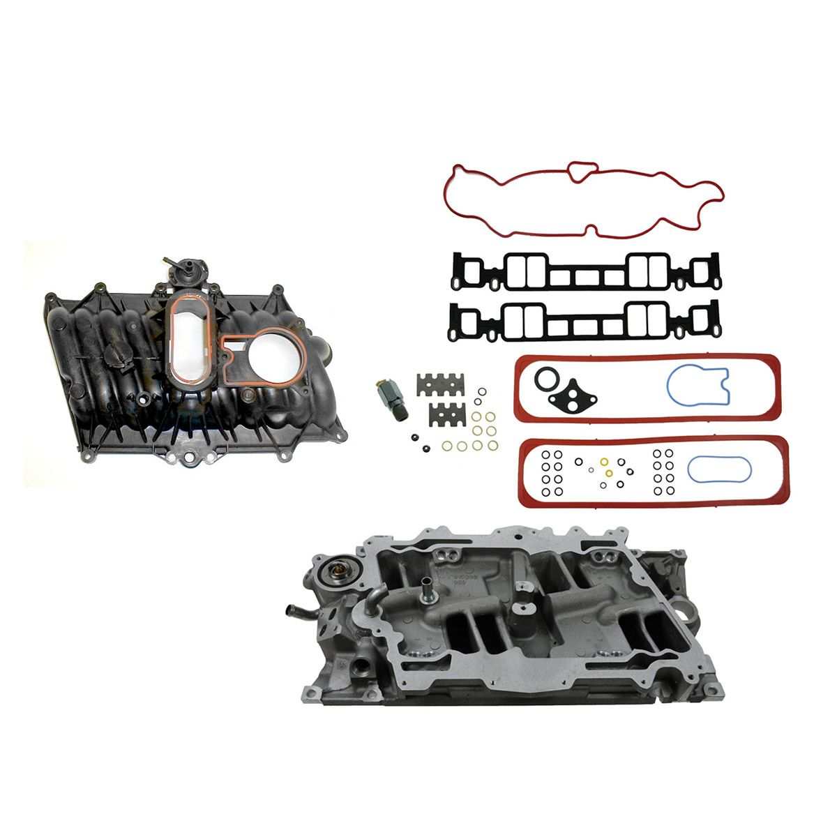Upper Lower Intake Manifold Set Kit For 96 02 Chevy Gmc Truck Van Suv 5 0l 5 7l