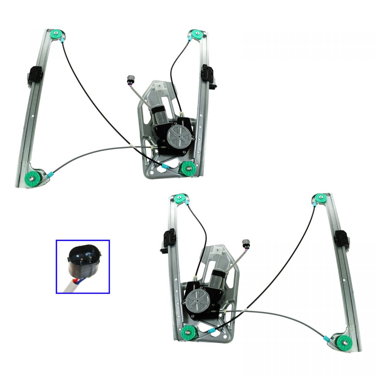 Power Window Regulators W Motor Front Lh Amp Rh Pair For 95
