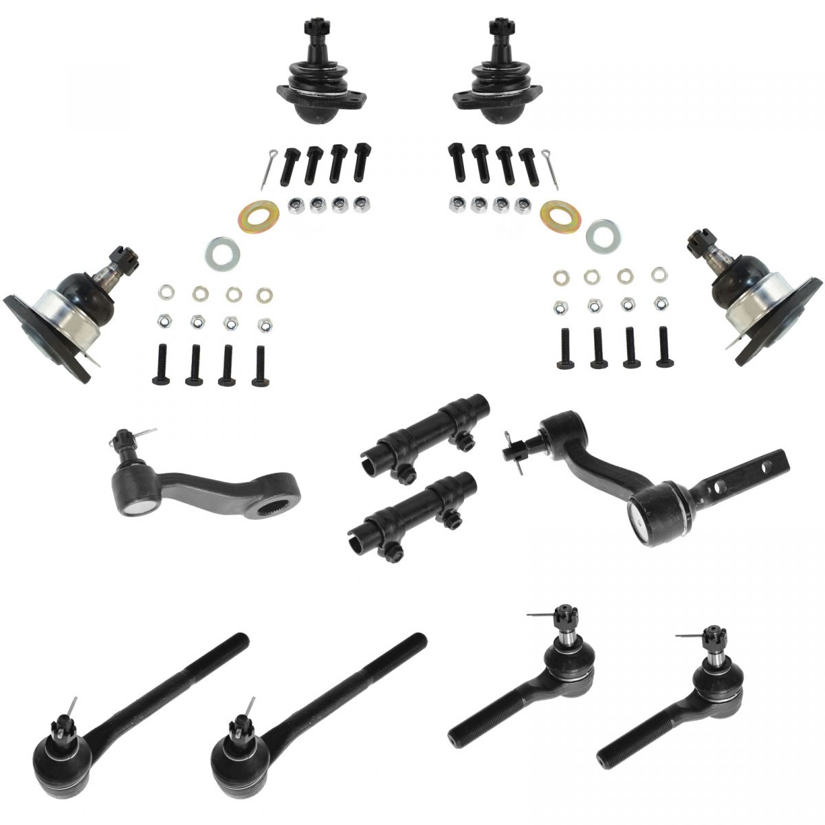 Steering Amp Suspension 12pc Kit Ball Joint Tie Rod Drag