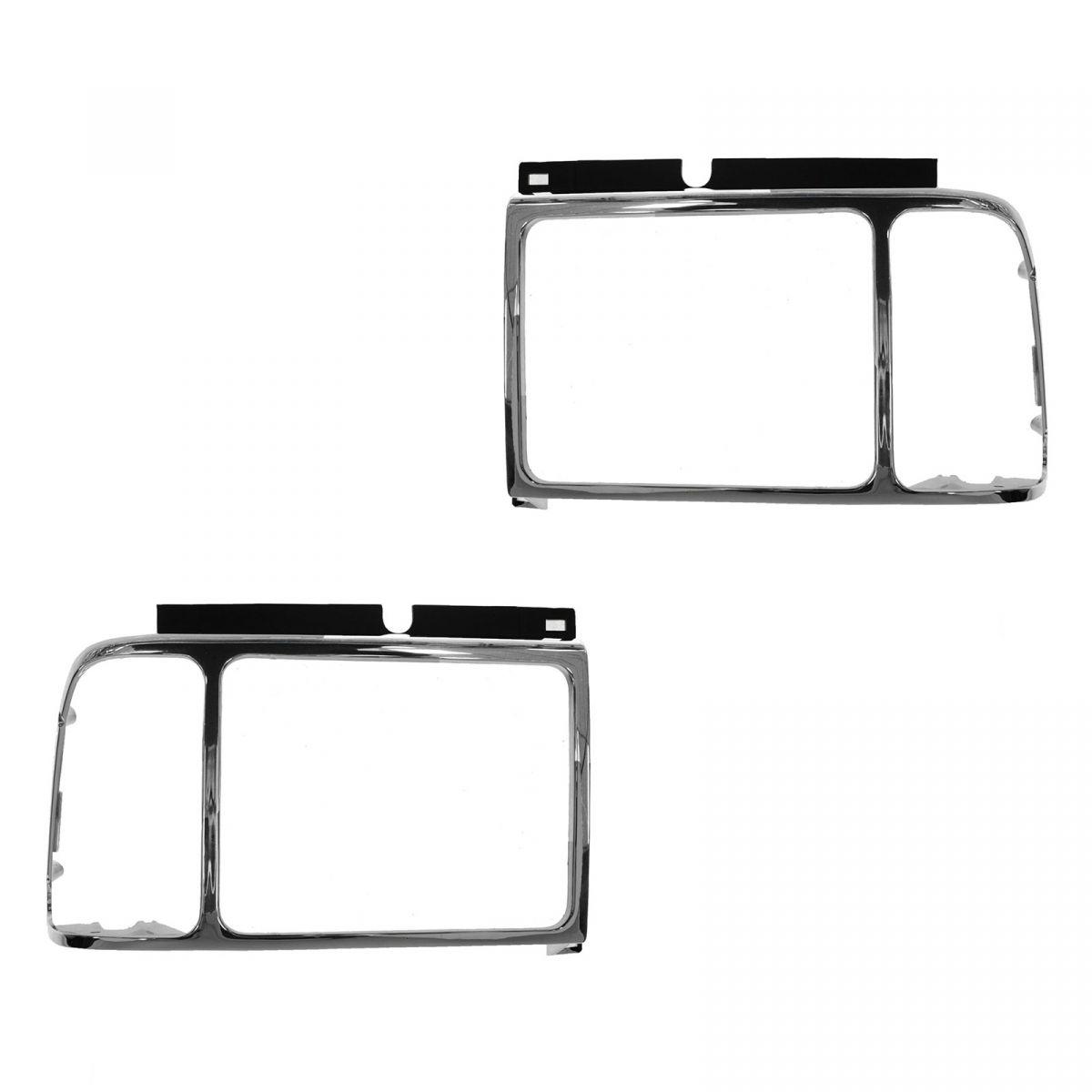 Headlight Headlamp Trim Bezel Chrome Surround Pair Set For