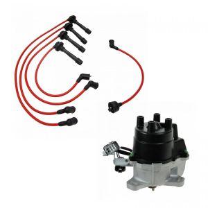 Ignition Distributor & Spark Plug Wire Set for 9495 Honda