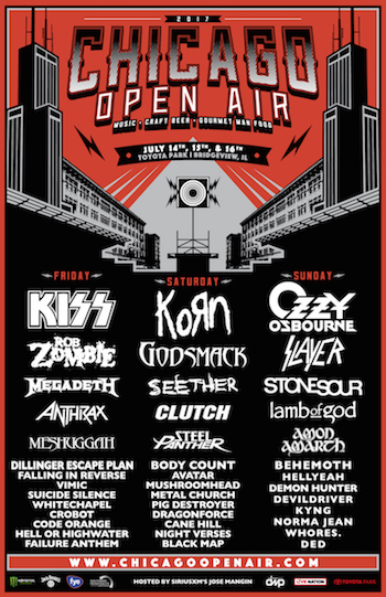 Chicago Open Air flyer with band lineup and venue details