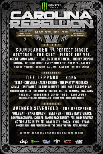 Monster Energy Carolina Rebellion flyer with daily band lineup and venue details