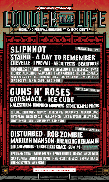 Louder Than Life flyer with daily music lineup and venue details