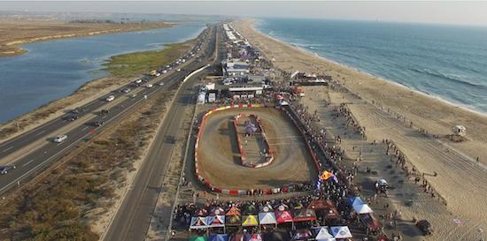 Aerial photo of the 2017 Moto Beach Classic at Bolsa Chica State Beach