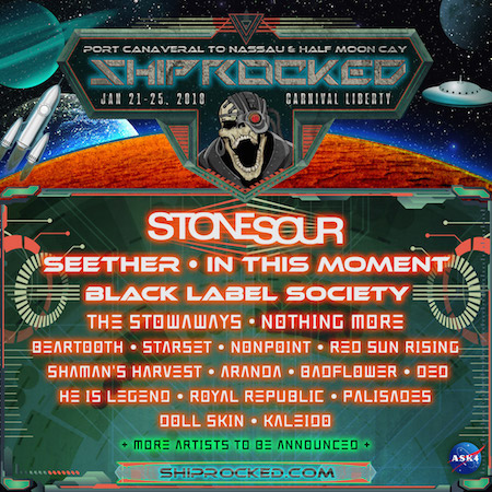 Space-themed ShipRocked 2018 flyer with band lineup