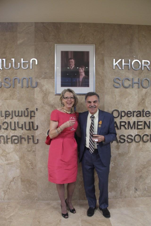 Edward and Pamela Avedisian Celebrating the Opening of Avedisian School