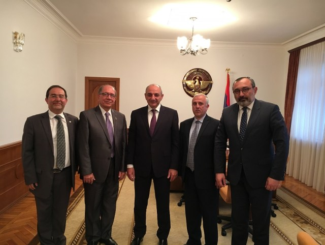 Zaven Khanjian and AMAA delegation with Artsakh Republic President Bako Sahakyan