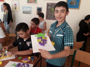 An appropriate craft project for the Blessing of the Grapes today, at Yerevan's Shogh Center (12 Aug. 2018)