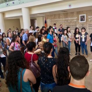Principal Melania Geghamyan welcoming the group (3 Aug. 2018)
