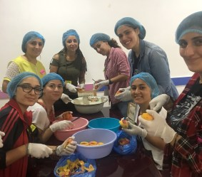 "At Shogh Center in Vanatzor making ""mouraba""/peach jam"