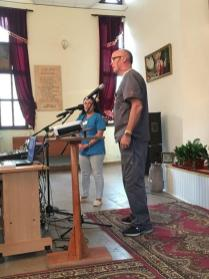 Tim Smith sharing his Christian testimony during the service in the Evangelical church of Armenia in Stepanavan.