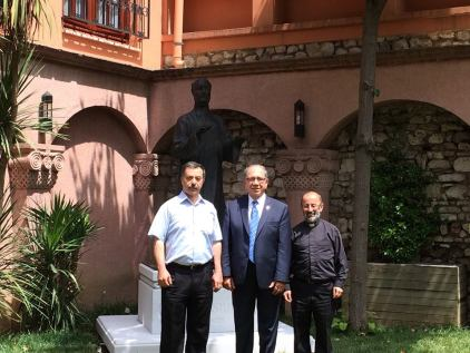 L to R: Rev. Kirkor Ağabaloğlu, Zaven Khanjian, and Rev. Father in courtyard of Instanbul Armenian Patriarchate