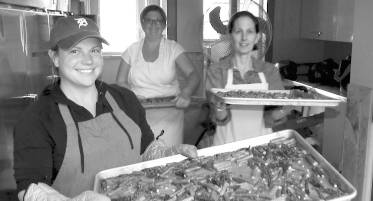 Jenny, Wendy, and Maria with delicious Michigan grown roasted asparagus. Yummy!
