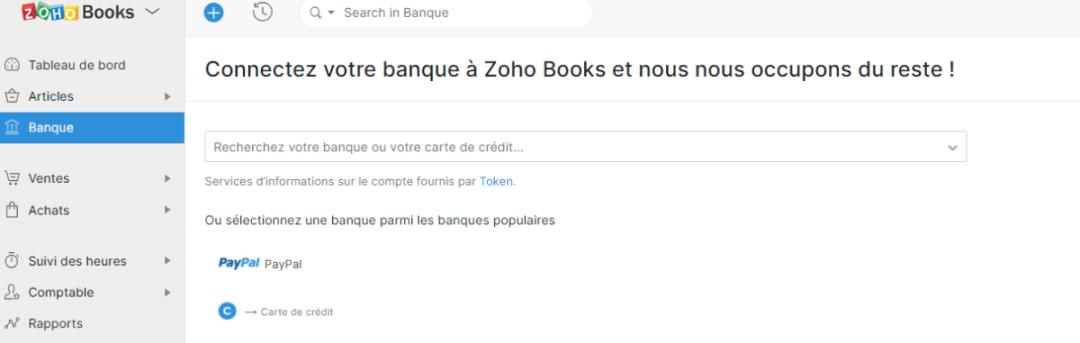 Connexion de votr banque belge avec Zoho BOOKS via le flux de TOKEN.IO