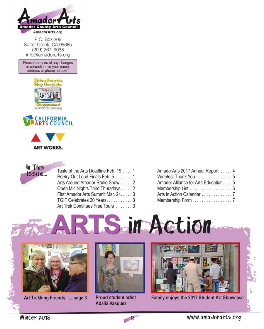 ArtsLine Newsletter Winter 2018 | Amador County Arts Council