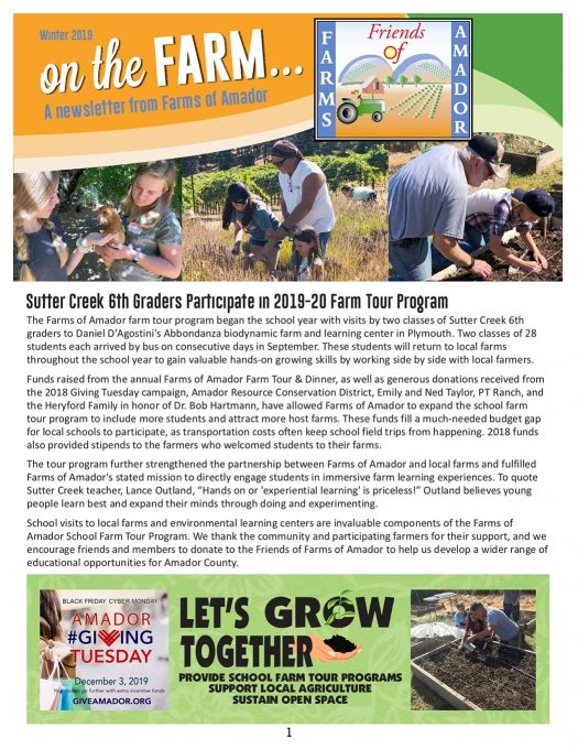 Farms of Amador Winter 2019 newsletter link