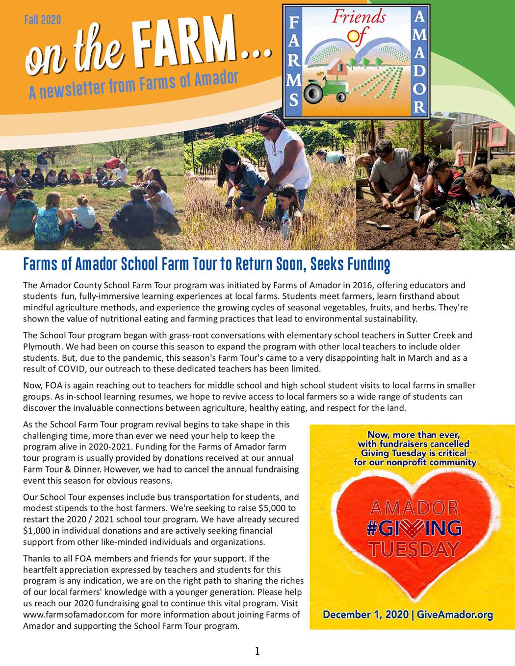 FOA Oct Newsletter pg 1