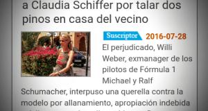 Claudia Schiffer e i Pini, Diario de Mallorca