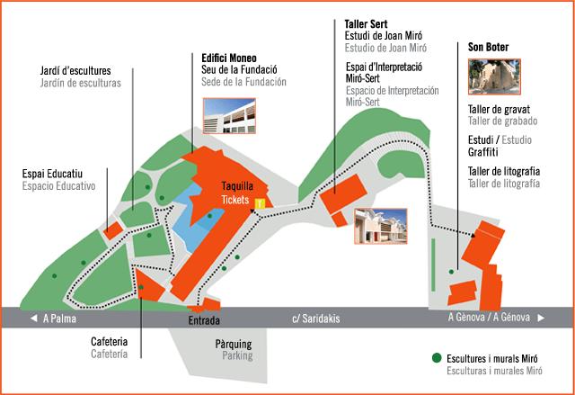 Mappa Fondazione Pilar e Joan Miró