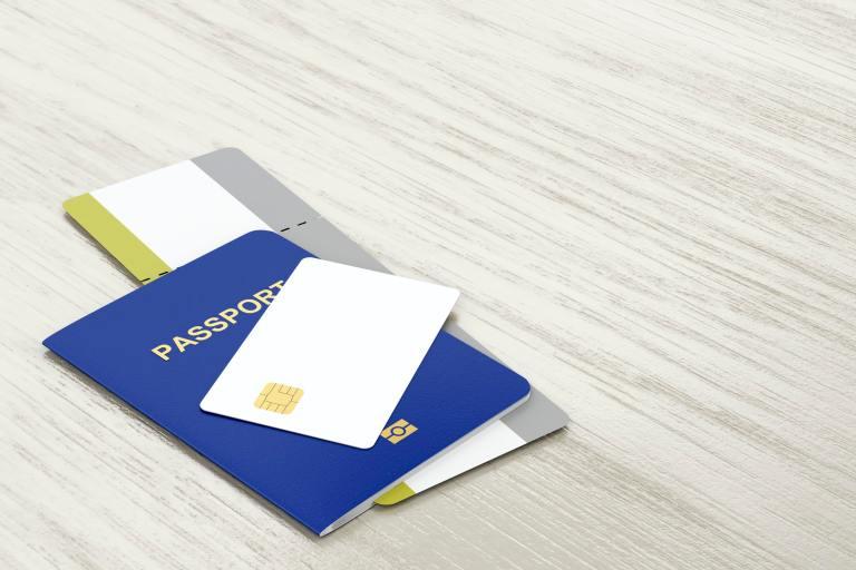 Passport, bank card and boarding pass
