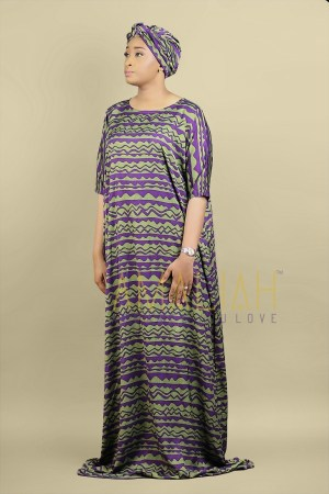 Riya Dress Green & Purple (1)