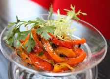 ensalada de chiles pimientos, charred bell peppers