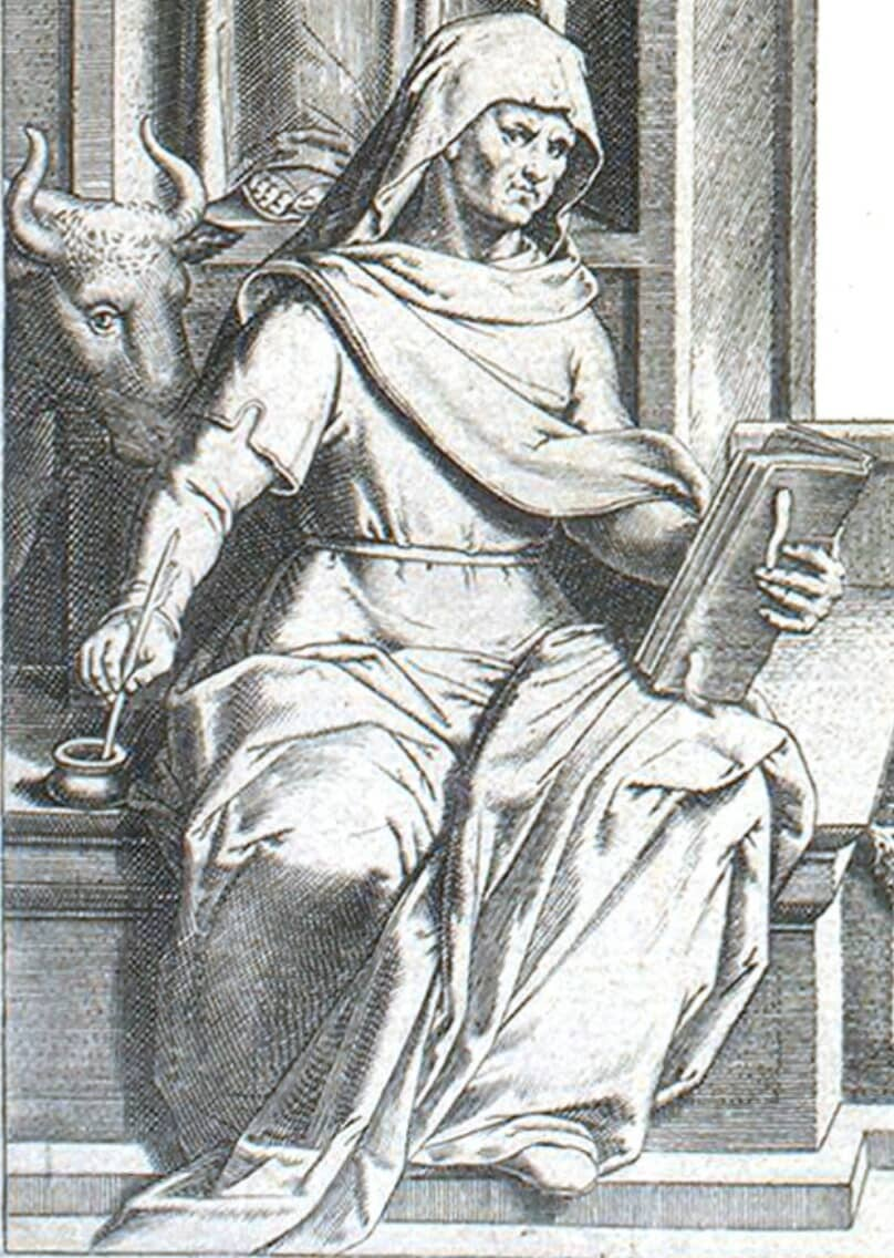 An Ox's face and Luke from the title page of the King James Bible