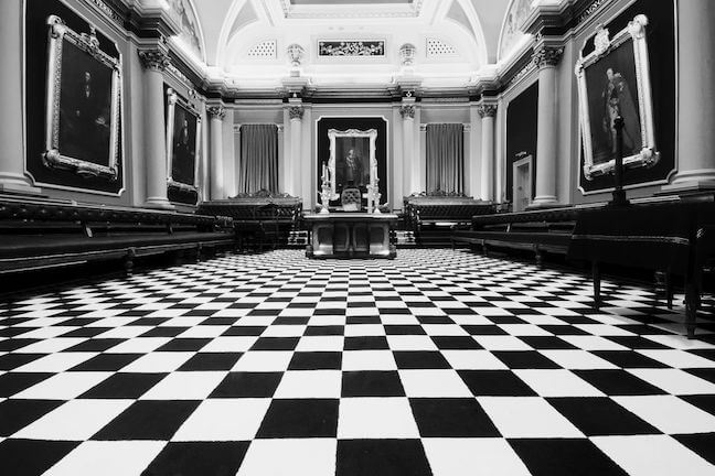 Black and white checkered floor of a Freemason lodge