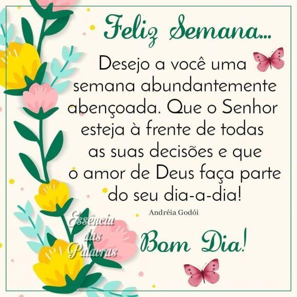 Desejo a você uma feliz semana com muita paz e saúde na sua vida, Mensagens de Bom dia Feliz Segunda feira