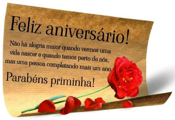 feliz aniversario parabéns priminha