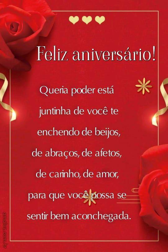 imagem com fundo vermelho e flores de feliz aniversario para prima