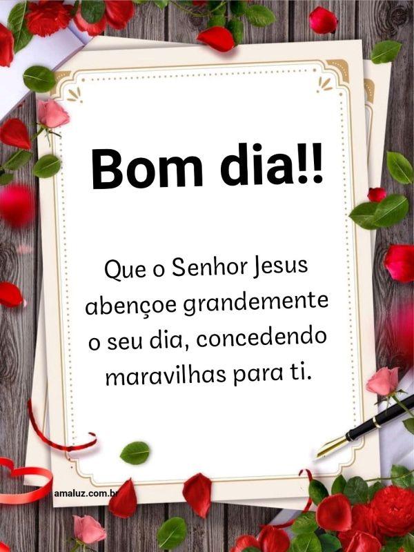 Bom dia que o Senhor Jesus abençoe grandemente o seu dia